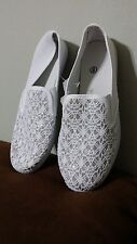 Glitter Lace White Canvas Casual Shoes Size 8 MI480