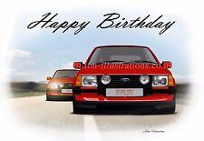 Ford Escort Mk3 GL XR3i Birthday Greetings Card XR3 Chase