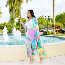 US Women Tie-dyed Long Cloak Skinny Pants Set Bodyon Outfits Club pants suit 2pc