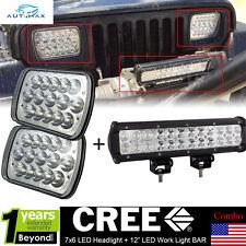 "CREE 7x6 LED Headlights+12"" LED Driving Light Bar for Jeep Cherokee XJ YJ Bumper"