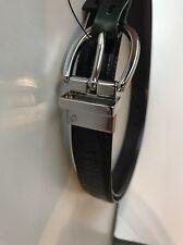 Ralph Lauren Womens Reversible Croc Embossed Leather Belt Black/Brown  LARGE