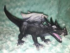 2005 BLACK WINGED MYTHICAL MYTHOLOGY PLASTIC DRAGON FIGURE 11 inches long Horns