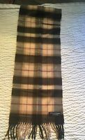 100% cashmere scarf from Scotland- Brown Multi Color Plaid- New - Free Shipping