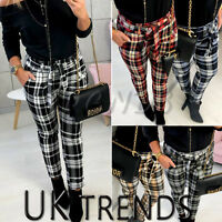 UK Womens High Waist Paperbag Cigaratte Christmas Plaid Trousers Ladies Pants