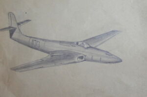 VINTAGE PENCIL DRAWING AIRPLANE