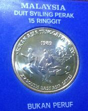 """MALAYSIA  RM15 Commemorative Silver Coins 1989 XV SEA Games Non-Proof  """"UNC/BU"""""""