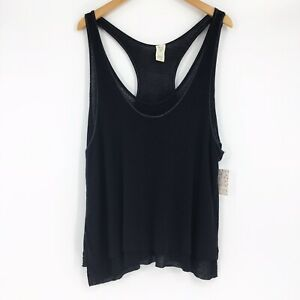 Free People We The Free Layered Racerback Black Karmen Tank Top, Size Medium