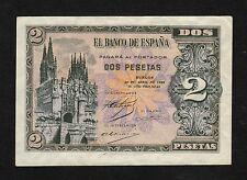 F.C. 2 PESETAS ABRIL 1938 , SERIE D , EBC- , PICO DOBLADO .