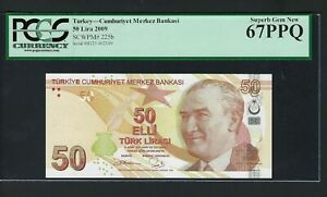 Turkey 50 Lira 2009 P225b Uncirculated Graded 67