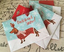 """NEW 4 DACHSHUND Christmas SMALL GIFT BAGS Party 5x6.25"""" Doxie Weiner Dog Glitter"""