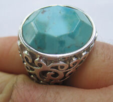 Estate Sterling Silver Ring with Faceted Faux Turquoise Stone, Size 8.75