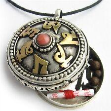 Big Tibetan Carved Golden OM Mani Gemstone Inlay Ghau Prayer Box Amulet Pendant