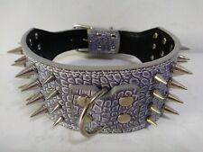"4 Row Spiked Studded Dog Collar PU Leather Lavender Alligator Size Large 21""-24"""