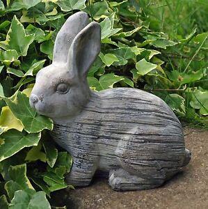 Rabbit Garden Ornament Cute Statue 20 cm Grey Bunny 2.1kg Moulded Cement New