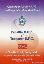 Penallta V Tonmawr Glamorgan Silver Ball FINAL 12 Mai 2007 Rugby programme