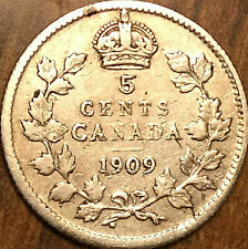 1909 CANADA SILVER 5 CENTS COIN - Pointed leaves - Nicer example!