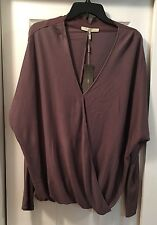 Halston Heritage Womens Wrap Front Dolman Top Sparrow Long Sleeve Sz L MSRP $295
