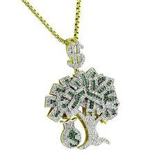 14K Gold Finish Lab Diamond Money Tree Pendant Money Bag Free 24 Inch Necklace
