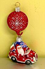"Patricia Breen Knightsbridge Santa 2pc Red Car Snowflake Glass 2002 #2238 5"""