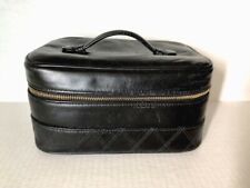 a56379ea4007a9 100% Authentic CHANEL Black Leather Cosmetic Case Vanity Bag Travel Quilt  Design