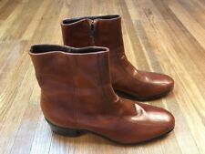 Florsheim Mens Duke Boots Sz 9.5 B Narrow Cognac Brown Leather Zip Up Ankle And