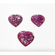 10ct Natural Ruby Carved Certified Gemstone Carving Heart Pear shape Layout 3pcs