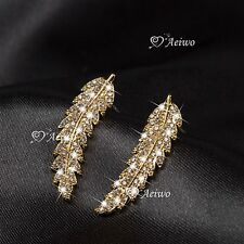 18K YELLOW GOLD FILLED CRYSTAL LEAVES FEATHER STUD EAR CLIMBERS EARRINGS