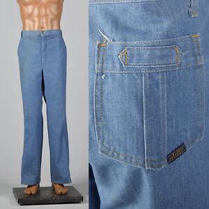 Large 1970s Mr Leggs Mens Jeans Medium Wash Straight Leg Vintage 70s Pants