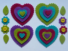 Felt hearts and flower shapes for crafts
