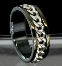 Mens Chain Rotating High Polish Stainless Steel Band Comfort Fit Ring Size 13