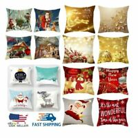 "4x Christmas Decorations Cushion Cover Home Decor Soft Throw Pillow Case 18""x18"""