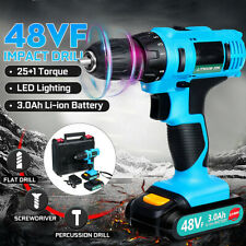 48V Power Cordless Drill Driver Electric Rechargeable With 2 Li-Ion Batteries
