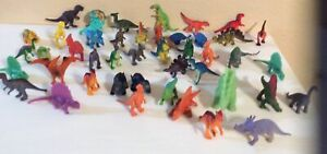 "Dinisaurs Lot 46 Of Mini Figures Rubber/ Plastic 2""-3"""