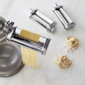 Pasta Roller / Cutter Set Attachment for KitchenAid Stand Mixer Stainless Steel