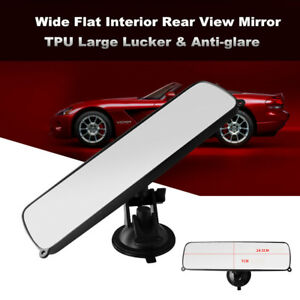 Universal Car Truck Wide Flat Interior View Mirror Sucker Style Rearview Clear