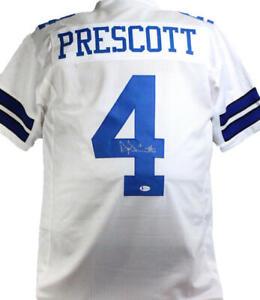 Dak Prescott Autographed White Pro Style Jersey- Beckett W *Silver