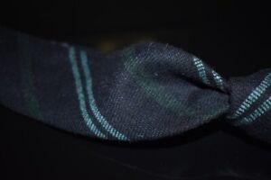 #1 MENSWEAR LNWOT Drakes England Wool Tie Tweed Untipped Blue Repp Stripe NR #31