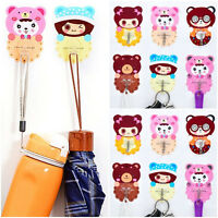 Cute Cartoon Adhesive Plastic Bathroom Towel Holder Hanger Fridge Door Wall Hook