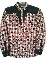 Rock Roll n Soul Mens Orange Gray Plaid Western Style Skull Shirt Size Small