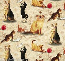 REST Natural Cats Patchworkstoff Stoff Katzen Patchwork Baumwollstoff Tiermotive