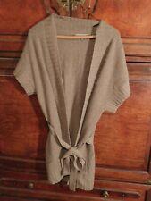 NEIMAN MARCUS Women's OPEN FRONT 100% CASHMERE Medium SS BELTED LONG Sweater