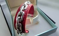TANE ORFEBRES 60g ME-32 Mex 925 sterling silver red leather cuff bangle bracelet