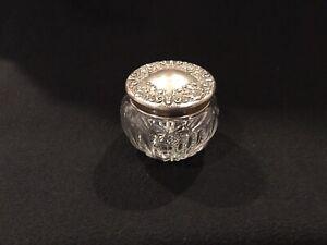 R W & s. Wallace & Sons Sterling Silver & Cut Glass Vanity Jar #1 pat. Feb 25 02