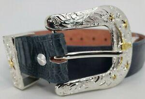 Men's Reptile Leather Belt Western Gray Size 36