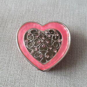 Heart-Jewelley Box-Trinket Box-Pink -Metal - Diamante - Filigree -New