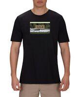 Hurley Mens T-Shirt Black Size Small S Crewneck Logo Poolside Graphic Tee 408