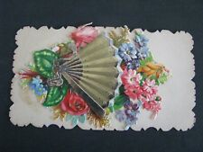 LIFT UP FAN CALLING CARD HIDDEN NAME FLORAL DIE CUT MESSAGE ANTIQUE EPHEMERA