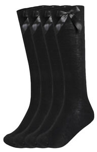 Girls Multipack Black School Socks Long Knee High With Satin Bows Fashion Socks