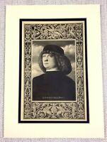 1927 Antico Stampa Italiano Vecchio Master Pittura Giovanni Bellini Autoritratto
