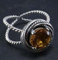 Citrine Gemstone Design Ring Size 8 Women Silver Jewelry 925 Sterling Silver